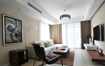 客厅咖啡色窗帘简约风格装修设计图片