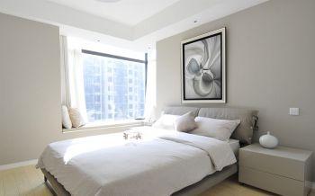 卧室白色背景墙简约风格装潢设计图片