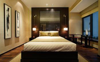 卧室咖啡色隔断中式风格效果图