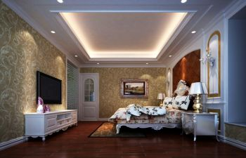 卧室黄色背景墙简欧风格装修效果图