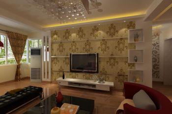 黄色背景墙现代简约风格装饰设计图片