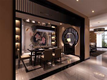 餐厅黑色门厅现代中式风格装饰设计图片