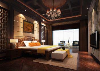 卧室黄色背景墙现代中式风格效果图