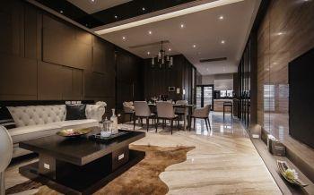 客厅咖啡色现代简约风格装修设计图片