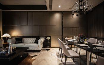 客厅灰色背景墙现代简约风格装饰设计图片