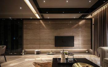 客厅咖啡色背景墙现代简约风格装潢设计图片