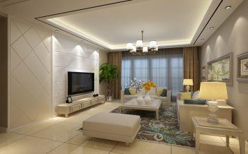 客厅彩色现代中式风格装修设计图片