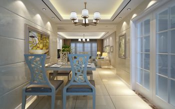 餐厅白色推拉门现代中式风格装饰设计图片