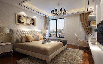 卧室彩色现代中式风格装潢设计图片
