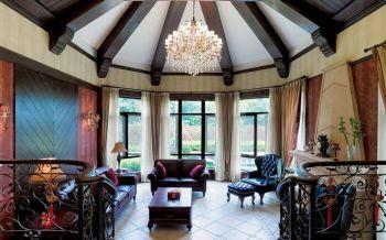 客厅黄色窗帘东南亚风格效果图