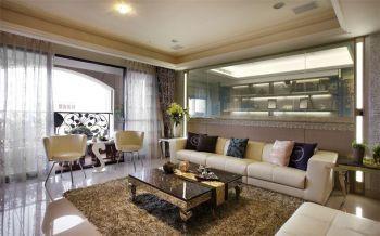 客厅白色背景墙现代简约风格装饰设计图片