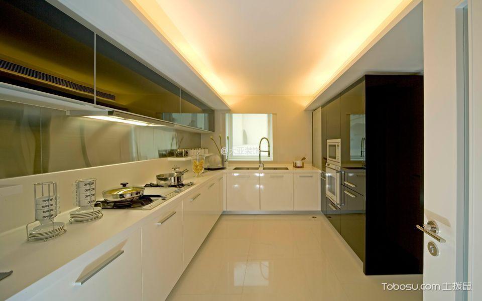 厨房_现代简约风格160平米白色三居装修效果图