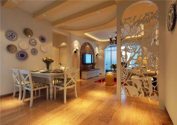 欧式田园风格88平米二居室装修效果图