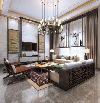 客厅白色灯具新中式风格装修效果图