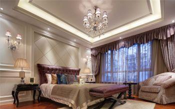 卧室紫色窗帘法式风格装潢设计图片
