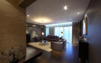 客厅咖啡色地板砖现代简约风格装潢图片