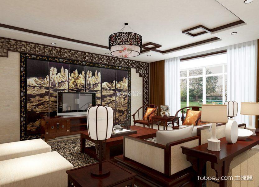 客厅 背景墙_中式风格家庭套房装修案例效果图