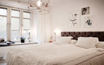 卧室白色飘窗北欧风格装潢效果图