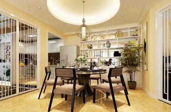 餐厅黄色博古架新中式风格效果图