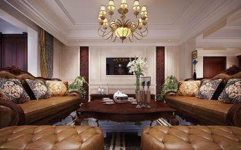 现代美式风格豪华两居室装修效果图
