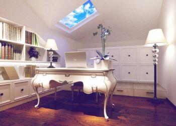 书房白色书桌简欧风格装修图片