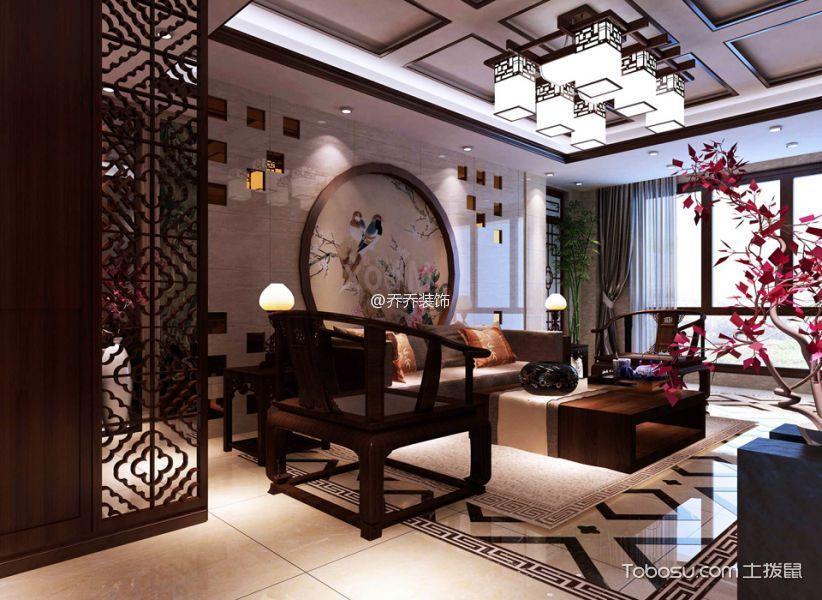 客厅 背景墙_中式风格102平米二居室装修效果图