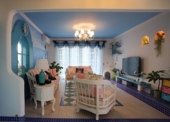 客厅白色灯具地中海风格装饰设计图片
