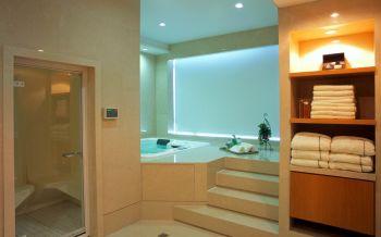 卫生间白色地板砖现代风格装潢效果图