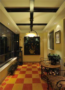 阳台彩色地板砖美式风格效果图