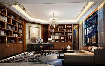 书房红色博古架新古典风格装潢效果图