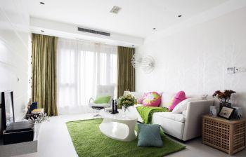 客厅绿色窗帘北欧风格装饰效果图