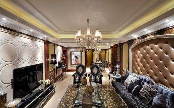 客厅白色灯具欧式风格装饰效果图
