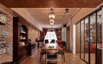 餐厅黑色推拉门美式风格装潢效果图