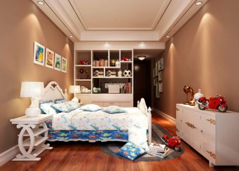 儿童房黄色背景墙混搭风格装修设计图片