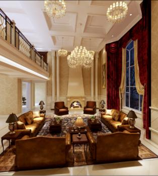 海口蔚蓝海岸欧式新古典奢华风私人别墅装修效果图