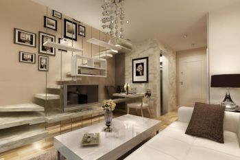 现代简约风格90平米两房一厅新房装修效果图