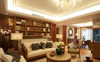 客厅咖啡色博古架混搭风格装修效果图