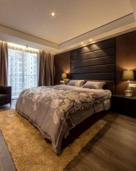 卧室咖啡色地板砖现代简约风格效果图
