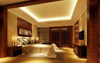 卧室咖啡色推拉门新中式风格装修效果图