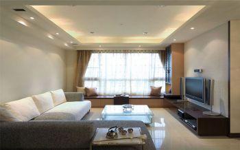 客厅黄色飘窗简约风格装潢图片