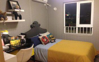 儿童房灰色背景墙混搭风格装修设计图片