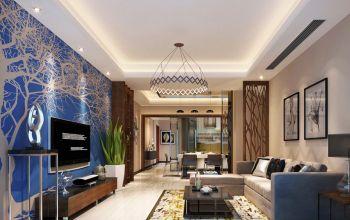 现代时尚三居室家庭装修案例效果图