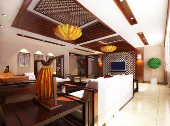 客厅黄色走廊混搭风格装修设计图片