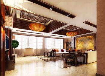 客厅黄色灯具混搭风格装潢设计图片