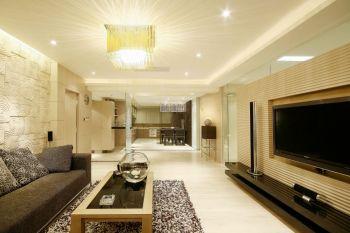 客厅黄色灯具现代简约风格装潢效果图