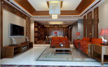中式风格110平米2房1厅房子装饰效果图
