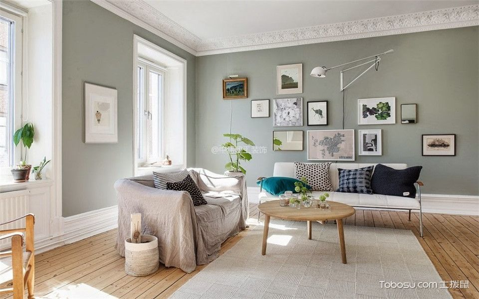客厅 照片墙_北欧风格90平米两房一厅新房装修效果图