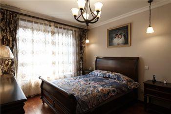 卧室黑色灯具美式风格装饰设计图片