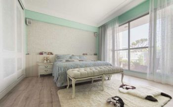卧室米色背景墙北欧风格装潢效果图