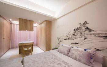 卧室白色隔断新中式风格装潢设计图片
